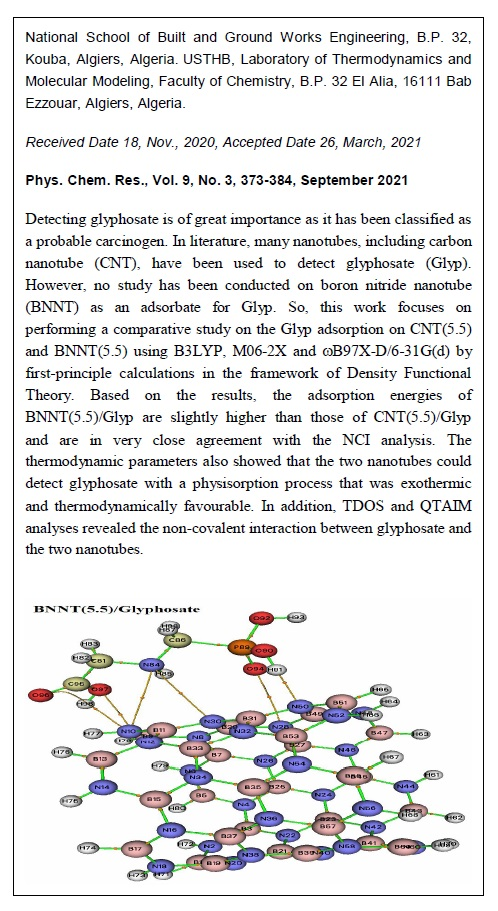 Comparative Study of Glyphosate Adsorption on Armchair CNT(5.5) and BNNT(5.5): A DFT Study