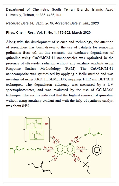 Synthesis of CuO/MCM-41 Photocatalyst Nanocomposite, Mechanistic Study and Optimization of Quinoline Oxidative Degradation without Auxiliary Oxidant Using Response Surface Methodology