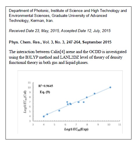 QSAR Studies of the Dioxins and Interaction of OCDD with Calix[4] Arene Using DFT