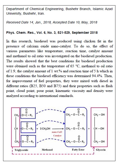 Biodiesel Production from Chicken Fat Using Nano-calcium Oxide Catalyst and Improving the Fuel Properties via Blending with Diesel