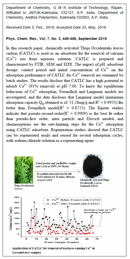 Removal of Calcium (Ca2+) Ion from Aqueous Solution by Chemically Activated Thuja Occidentalis Leaves Carbon (CATLC)-Application for Softening the Groundwater Samples