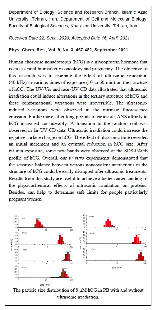 Structural Properties of Human Chorionic Gonadotropin (hCG) Affected by Ultrasonic Irradiation: An in Vitro Study