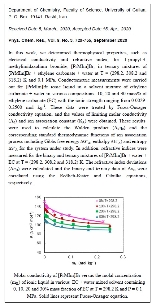 Conductometric and Refractometric Studies of 1-Propyl-3-methylimidazolium Bromide Ionic Liquid in Water + Ethylene Carbonate Mixtures at T = (298.2, 308.2 and 318.2) K