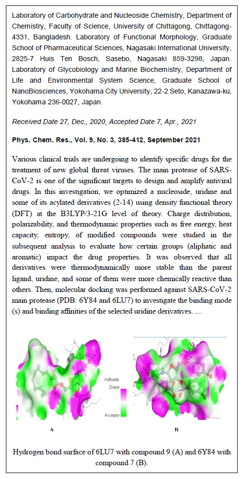 Pharmacokinetics and Molecular Docking Studies of Uridine Derivatives as SARS-COV-2 Mpro Inhibitors