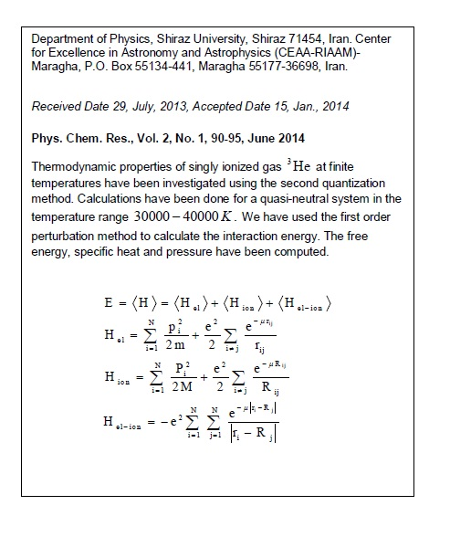 Thermodynamic properties of the ionized gas 3He