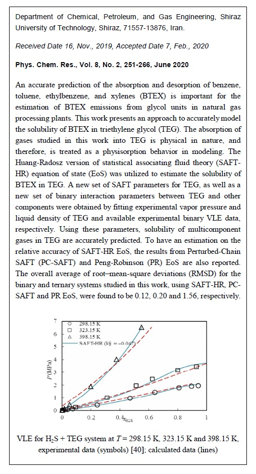 Estimation of Solubility of BTEX, Light Hydrocarbons and Sour Gases in Triethylene Glycol Using the SAFT Equation of State