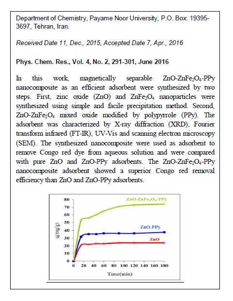 A Kinetic Study on Adsorption of Congo Red from Aqueous Solution by ZnO-ZnFe2O4-polypyrrole Magnetic Nanocomposite