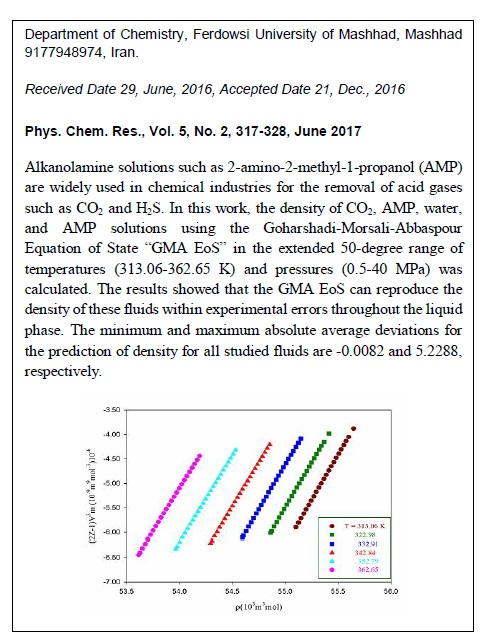 Application of GMA Equation of State to Study Thermodynamic Properties of 2-Amino-2-methyl-1-propanol as an Efficient Absorbent for CO2